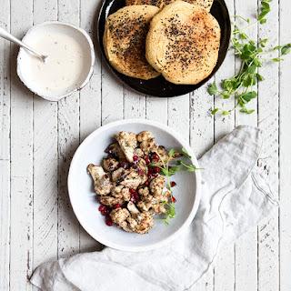Cauliflower Shawarma + Homemade (gf+df) Chickpea Pita Bread.