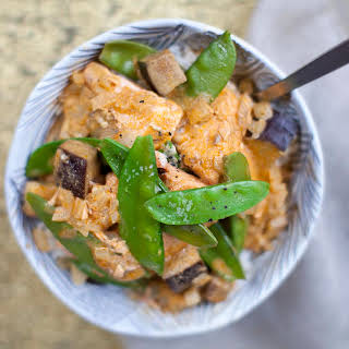 Thai Curry with Eggplant and Salmon.