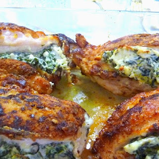 """BREADED"" CHICKEN STUFFED WITH SPINACH, FETA AND CREAM CHEESE"