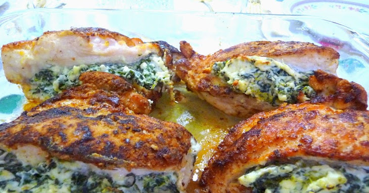 """""""BREADED"""" CHICKEN STUFFED with SPINACH, FETA and CREAM CHEESE Recipe"""