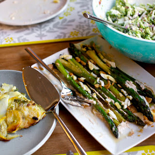 Roasted Asparagus with Smoky Lemon Yogurt, Chopped Eggs and Toasted Almonds