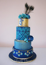 Photo: Peacock Blue Wedding Cake by Simply Sweet Cake Designs by Diana (9/24/2012) View cake details here: http://cakesdecor.com/cakes/29990