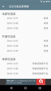台灣即時霾害 Taiwan PM2.5, PM10, AQI  螢幕截圖 7