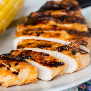 Grilled Chicken with Peach Barbecue Sauce.