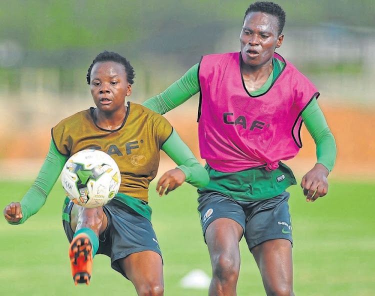 Hot shot: Star of Banyana's win over Nigeria Thembi Kgatlana, left, and Noko Matlou shift their focus to Wednesday's match against Equatorial Guinea. Picture: SYDNEY MAHLANGU/BACKPAGE PIX