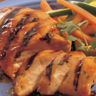 Grilled Apple- and Ginger-Glazed Chicken Breasts.