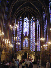 """Photo: Only nobles could ascend to the upper Royal chapel - a prime example of the """"Rayonnant"""" Gothic architectural style with its sense of weightlessness. Much of the chapel as it appears today is a recreation (although nearly two-thirds of the windows are authentic), following serious damage during the French Revolution. The restoration, completed under the direction of Eugene Viollet-le-Duc in 1855, is regarded as exemplary, and is faithful to the original drawings and known descriptions of the chapel."""