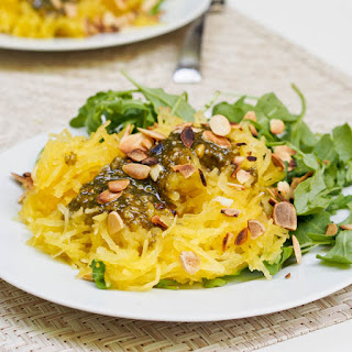 Spaghetti Squash Pasta with Pesto and Arugula