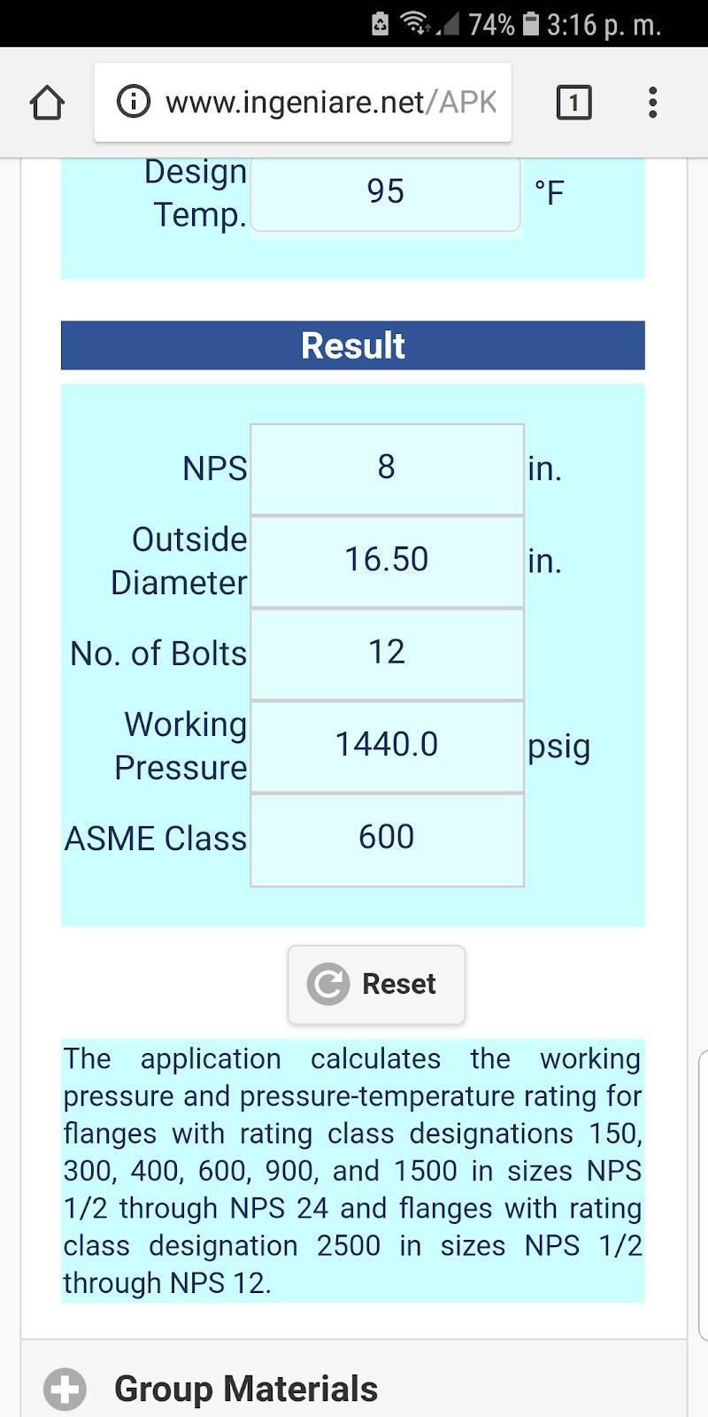 Скриншот ASME B16.5 Group 2.1 to 2.12 US Units