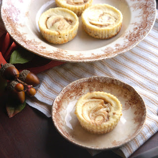 Mini Ricotta Cheesecakes with an Apple Cider Caramel Swirl