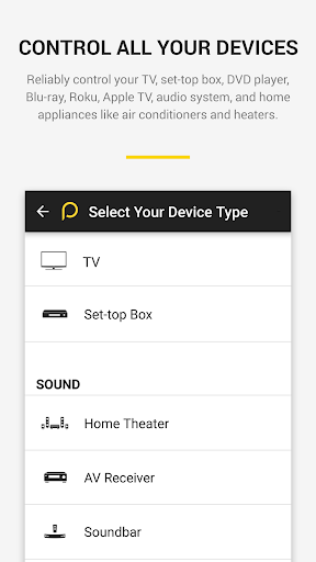 Peel Universal Smart TV Remote Control  screenshots 1