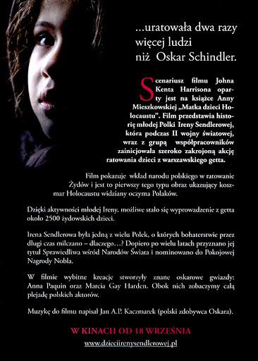 Tył ulotki filmu 'Dzieci Ireny Sendlerowej'