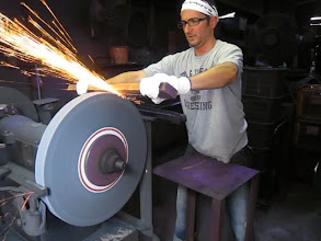 Photo: me at the first grinding wheel this was tricky since there no control and you cant see what your doing!