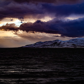 Sunset mood  by Shanna L Christensen - Landscapes Waterscapes ( sky, mountain, color, light, snow, contrast, sunset, clouds, lake, water )