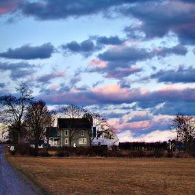 Evening Sets In by Elaine Tweedy - Landscapes Prairies, Meadows & Fields