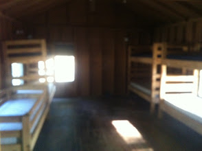Photo: Blurry picture of the inside of one of the Juniors Cabins.