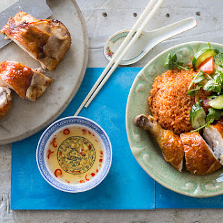 Crispy Skin Chicken With Red Rice (com Ga Chien Don)