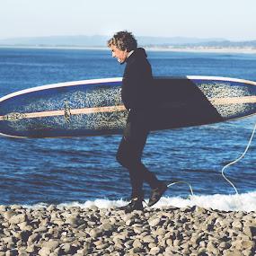Old Surfer by Amanda Halliday - People Portraits of Men ( beaches, surfer, ocean, seaside )