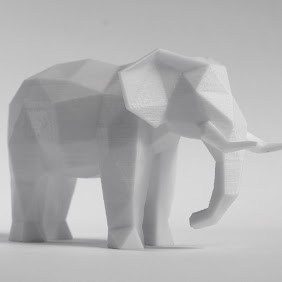 Elephant Faceted Sculpture