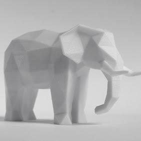 Elephant Faceted Sculpture