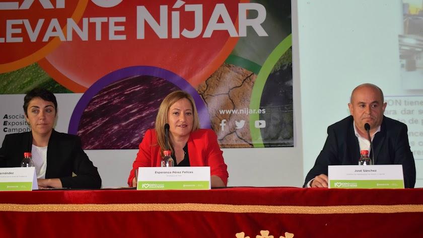 Mariela Fernández-Bermejo, Esperanza Pérez y José Sánchez durante la ponenecia sobre el Puerto Seco.