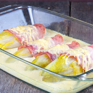 Chicory With Ham And Cheese Sauce.