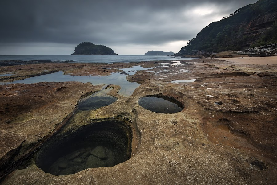 Holes by Geoffrey Wols - Landscapes Waterscapes ( sunrise, rocks, puddles, central coast, beach, sunset, lion island, rockpools, water,  )