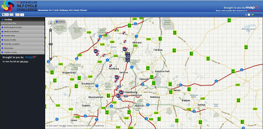 A screen shot of the Momentum 94.7 Cycle Challenge 2012 Route Planner.