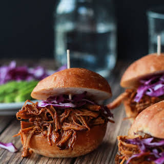 Skinny Pulled Pork Sliders with Red Cabbage & Avocado.