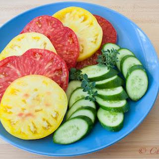 Summer Heirloom Tomato Salad with Tangerine Hatch Chile Vinaigrette.