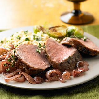 Thyme-Roasted Pork Tenderloin with Balsamic Shallot Compote.