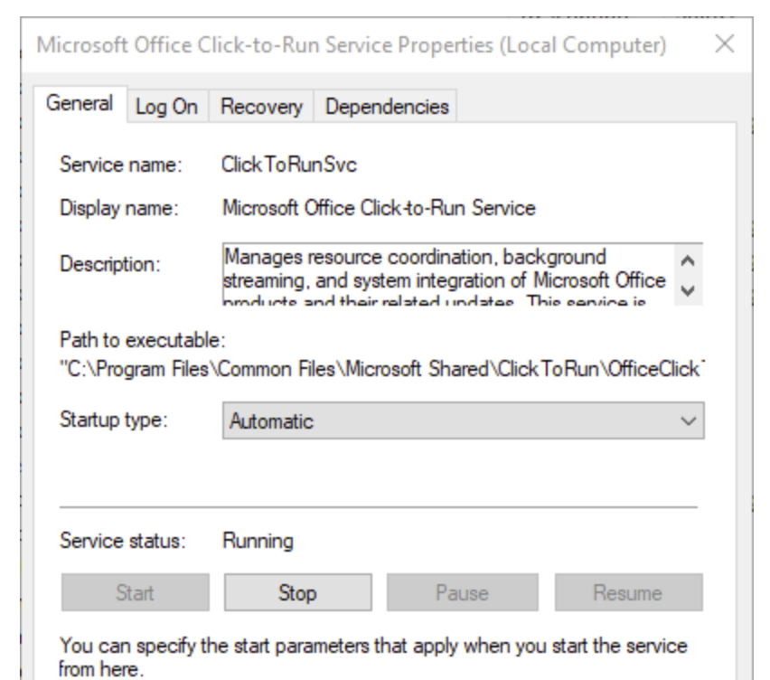 Microsoft Office Click-to-Run service set to Automatic startup and service started.