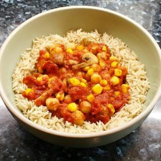 Chickpea, Mushroom and Sweetcorn Curry.