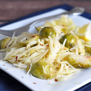 Creamy Lemon Pasta with Roasted Brussels Sprouts.