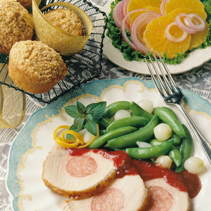 Sausage-Stuffed Pork Roast with Apricot-Mustard Glaze Recipe