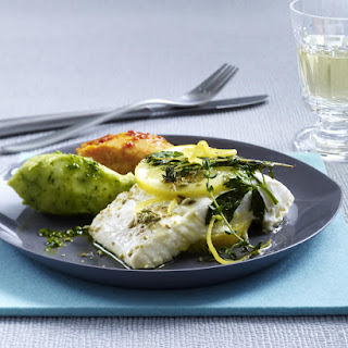Halibut with Red and Green Pesto Mash.
