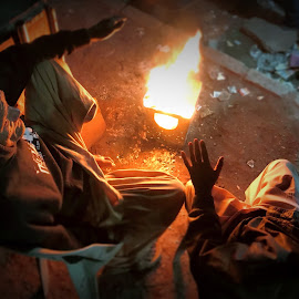 Winter Night by Ahmed Bhutta - City,  Street & Park  Street Scenes ( people winter night )