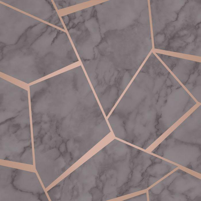 Tapet Marmor med grafiska metalliska detaljer FD42266 - Mörkgrå/roséguld