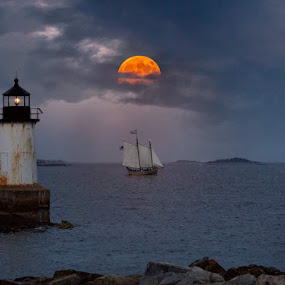 Blood Moon Rising by Kathy Image - Buildings & Architecture Other Exteriors ( moon, moonlight, lighthouse, ocean, moody, moonrise, lights )