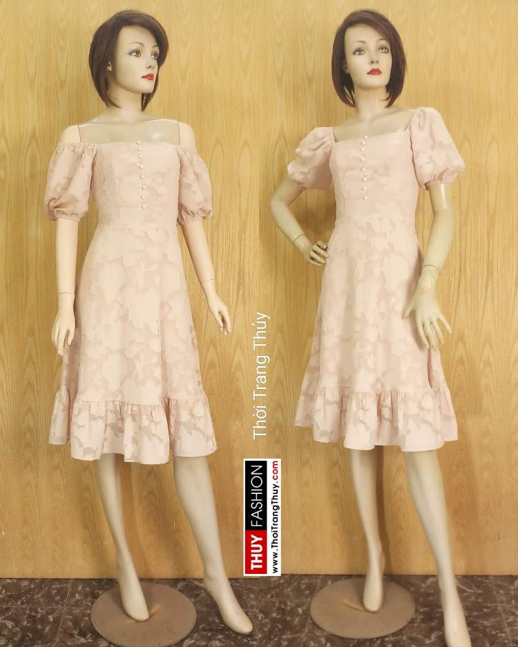 Váy xòe tay bồng cổ vuông vải ren V676 thời trang thủy hải phòng