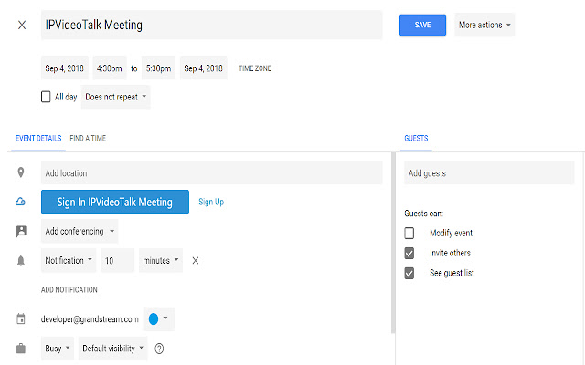 IPVideoTalk for Google Calendar