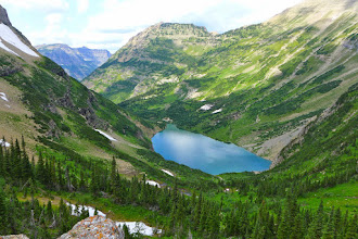 Photo: Stony Indian Lake as viewed from near the pass - Our night #2 campsite was just to the left of the lake's outlet.