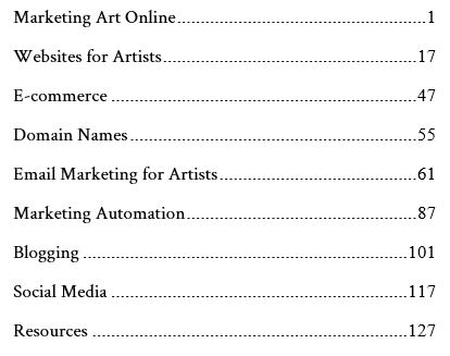 Table of Contents - Straight Advice How to Sell Art Online
