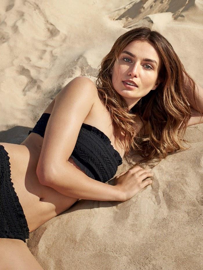 Андреа Диакону Vogue Turkey июль-2016, купальник, песок