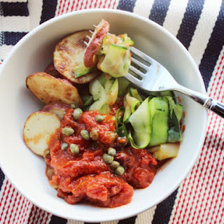 Make-Ahead Zucchini and Roasted Potato Puttanesca
