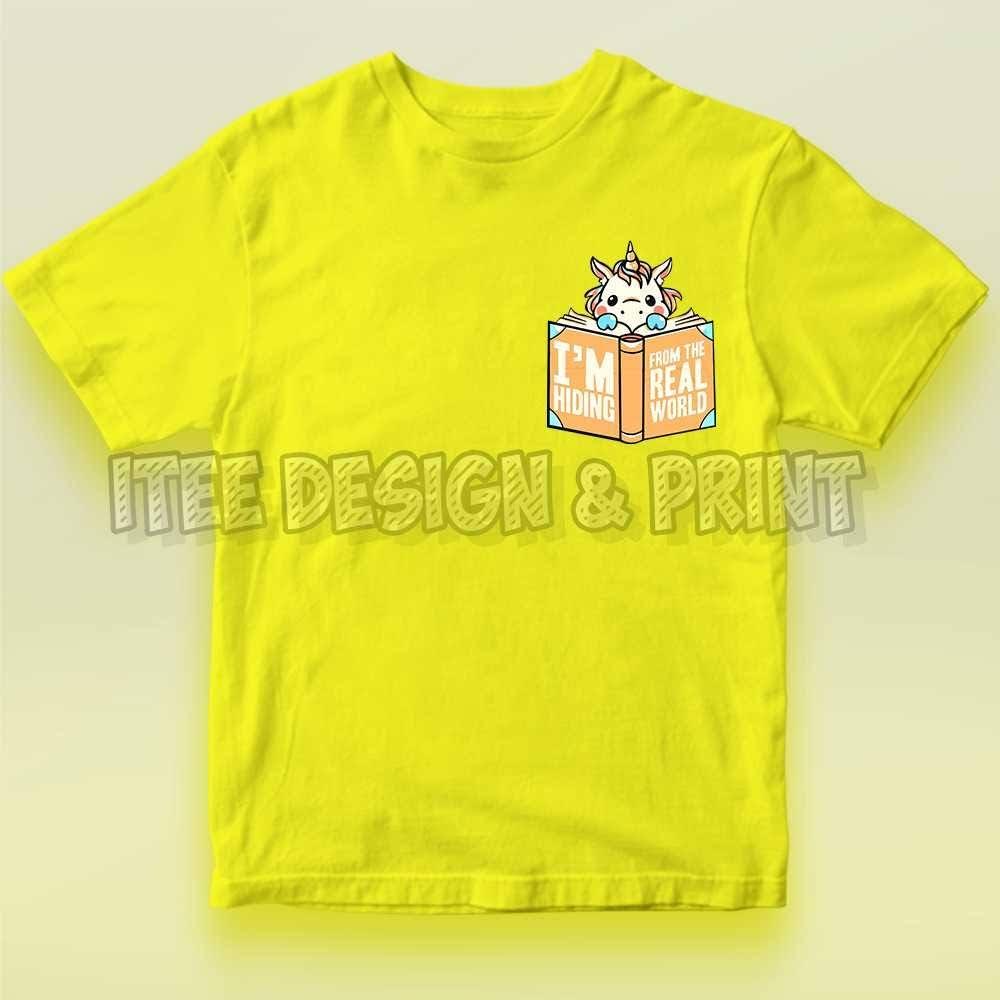 Unicorn Hiding From Real World Kids Pocket T-Shirt