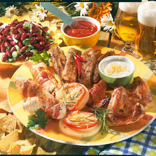 Grilled Meats with Bean Salad and Cheesy Garlic Dip.