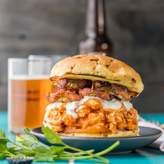 Slow Cooker Buffalo Chicken Sandwiches with Ranch Fried Pickles Recipe