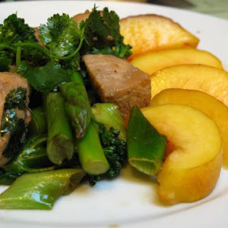 Peach Turkey with Asparagus and Broccoli