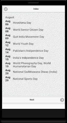 Important Days & Dates (India) - screenshot